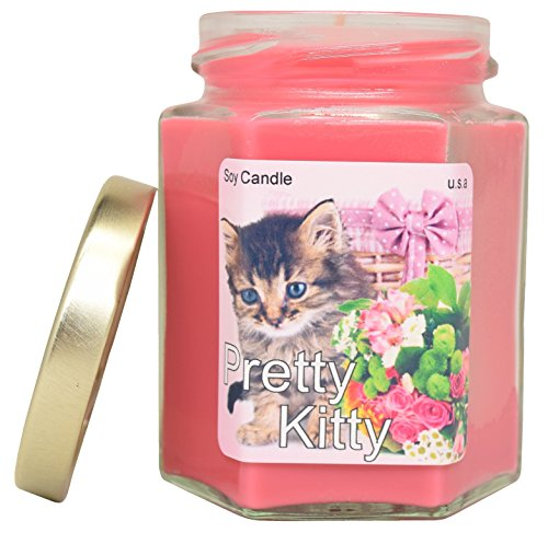Pretty Kitty EXTRA SCENTED Soy Candle   Long Lasting   Best for Spa, Home, Aromatherapy, Gifts   Indoor & Outdoor Use   Weddings, Party, Meditation   Kitchen & (Pretty Kitty Prices)