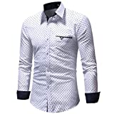 OWMEOTMens Casual Slim Fit Basic Dress Shirts (White, L)