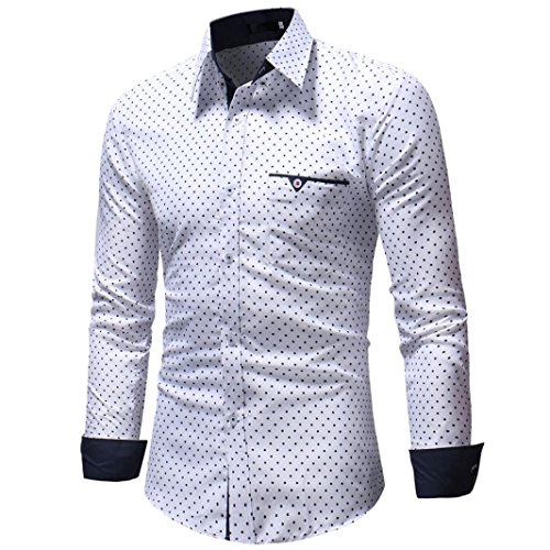 OWMEOTMens Casual Slim Fit Basic Dress Shirts (White, L) by OWMEOT
