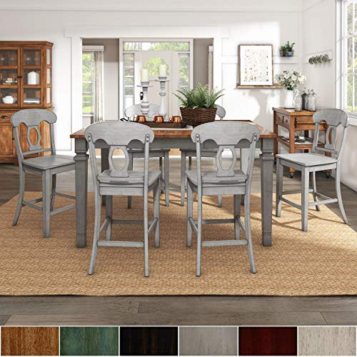 Inspire Q Classic Elena Antique Grey Extendable Counter Ight Dining Set - Napoleon Back by Oak 6 7-Piece Sets