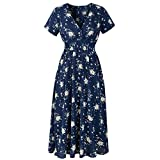 Women's Vintage Stretchy Waist Short Sleeve V Neck Summer Casual Flared Midi Dress