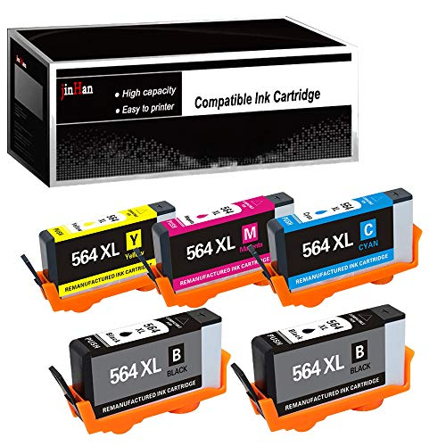 (JinHan Compatible Ink Cartridge Replacement for HP 564XL 564 XL (2BK & 1C/M/Y 5 Pack Combo) to use with Deskjet 3070A 3520 Officejet 4610 4620 4622 Photosmart 5510 5514 5520 6510 6510 6520 C6324)