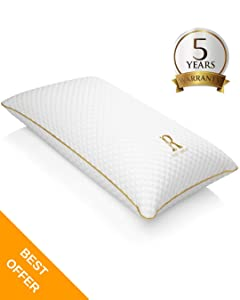 Royal Therapy Memory Foam Pillow, Neck Pillow Bamboo Adjustable Side Sleeper Pillow for Neck & Shoulder, Support for Back, Stomach, Side Sleepers, Orthopedic Contour Pillow (King)