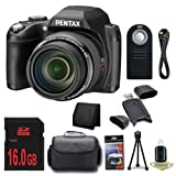 Pentax XG-1 16 MP 52x Opitcal Zoom Digital Camera + 16GB SDHC Class 10 Memory Card + Micro HDMI Cable + Universal Wireless Remote Shutter Release + Carrying Case + SDHC Card USB Reader + Memory Card Wallet + Deluxe Starter Kit  DavisMAX Bundle