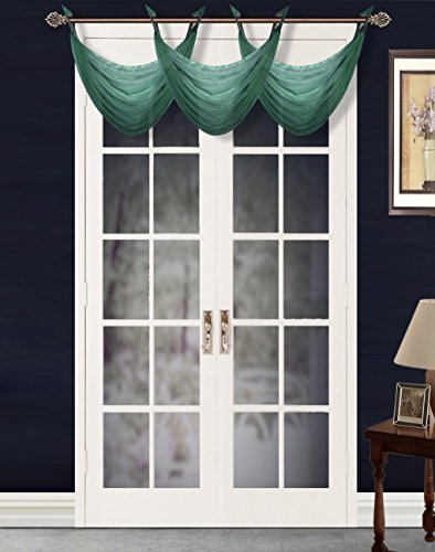 """GorgeousHome (#36) 1PC Solid Hunter Green Voile Sheer Versatile Multi Use Luxury Antique Grommet Window Valance Topper Waterfall Swag Treatment 55"""" X 24"""""""
