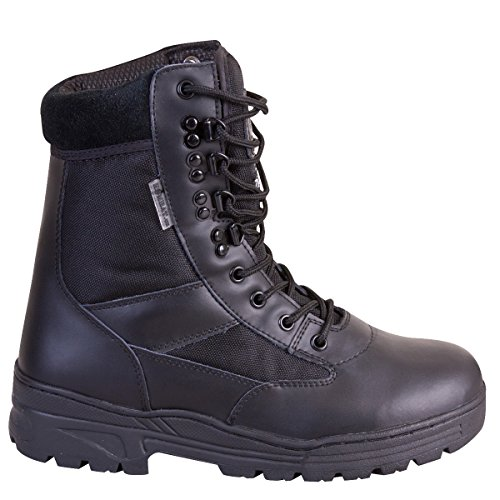 Kombat UK da uomo in pelle metà/Half Cordura Patrol stivali, Uomo, Half Leather/Half Cordura, Black, Taglia 12