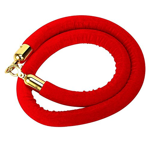 56 Inch Red Barrier Rope Crowd Control Stanchion Queue Velvet Rope w/Chrome Plated Hook (Red w/Gold Color Plated -