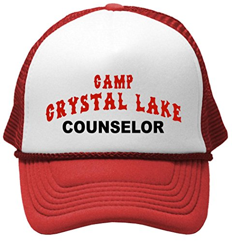 Crystal Lake Counselor - Funny 80s Horror Movie Mesh Trucker Cap Hat, Red ()