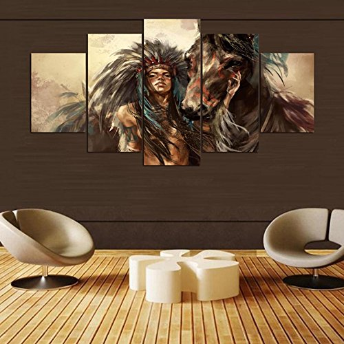 [LARGE] Premium Quality Canvas Printed Wall Art Poster 5 Pieces / 5 Pannel Wall Decor Girl And Horse Painting, Home Decor Pictures - With Wooden Frame