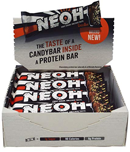 NEOH Low Carb Protein & Candy Bar - Keto Snack Low Sugar (1 Gram), 90 Calories, 8 Grams Protein (Chocolate Crunch 12-Pack) (Average Calories In A Chocolate Chip Cookie)
