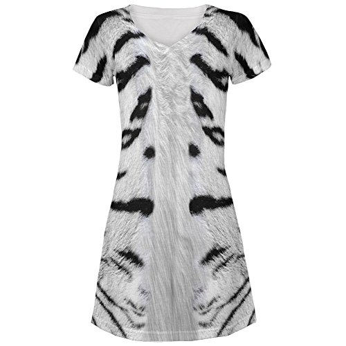 White Siberian Tiger Costume All Over Juniors V-Neck Dress - Large