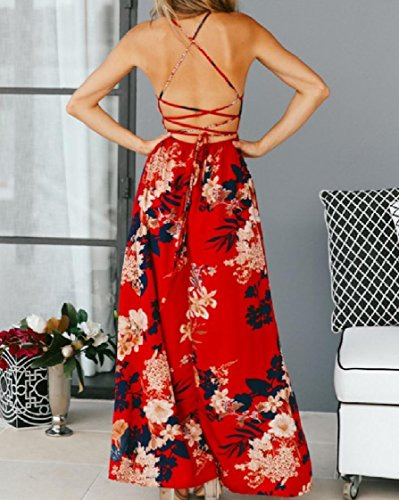 Backless Sling Women Sexy Maxi Red Dress Coolred Split Printing Long EXTaFq