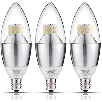 3 packlohas led candelabra light bulb 6 watt 60 watt equivalent lohas led candelabra bulb dimmable 60 watt light bulbs equivalent led 6 aloadofball Images