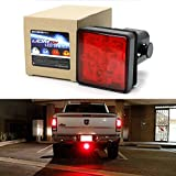 3rd brake light cover - iJDMTOY Red Lens 15-LED Super Bright Tail Brake Light Trailer Hitch Cover Fit Towing & Hauling 2