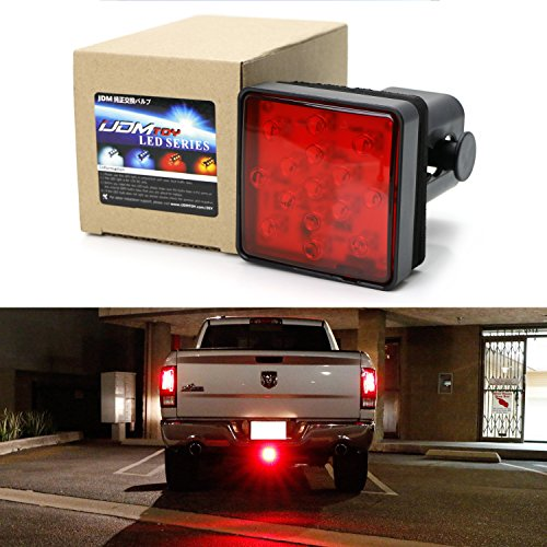 Led Trailer Hitch Brake Lights - iJDMTOY Red Lens 15-LED Super Bright Tail Brake Light Trailer Hitch Cover Fit Towing & Hauling 2