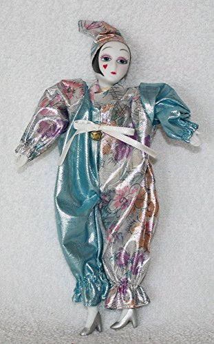 (Porcelain Dolls 7 Inches Tall, Pierrot in Glimmering Outfitsilver Blue High)