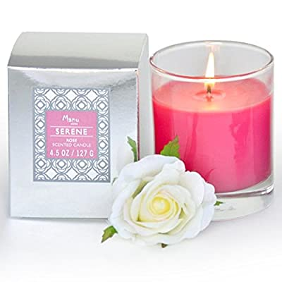 Manu Home® CALM Lavender or SERENE Rose or Fresh or Earl grey Scented Aromatherapy Candle in Gift Box ~ Made with Quality Aromatherapy Oils ~ Lavender Candle Great for Relaxation ~ Rose Candle Infused with Tuberose to Enhance Floral Notes and Color ~ Grea