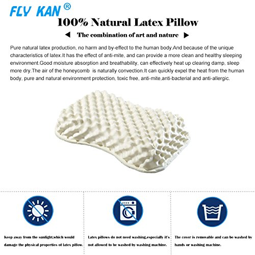 Fly Kan Latex Foam Pillow for ladies 100% Natural latex massage pillow for Sleeping Fatigue Relief (size: 21.65 x 14.57 x 3.94 inches)