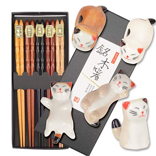 (Chopsticks and Chopstick Holder 5 Pairs Cat & Fish | Japanese Style Chopsticks | Lucky Cat Chopsticks Rest Holder 5 Cats | Natural Reusable Classic Style Chopsticks Gift Set | Perfect Chopsticks)