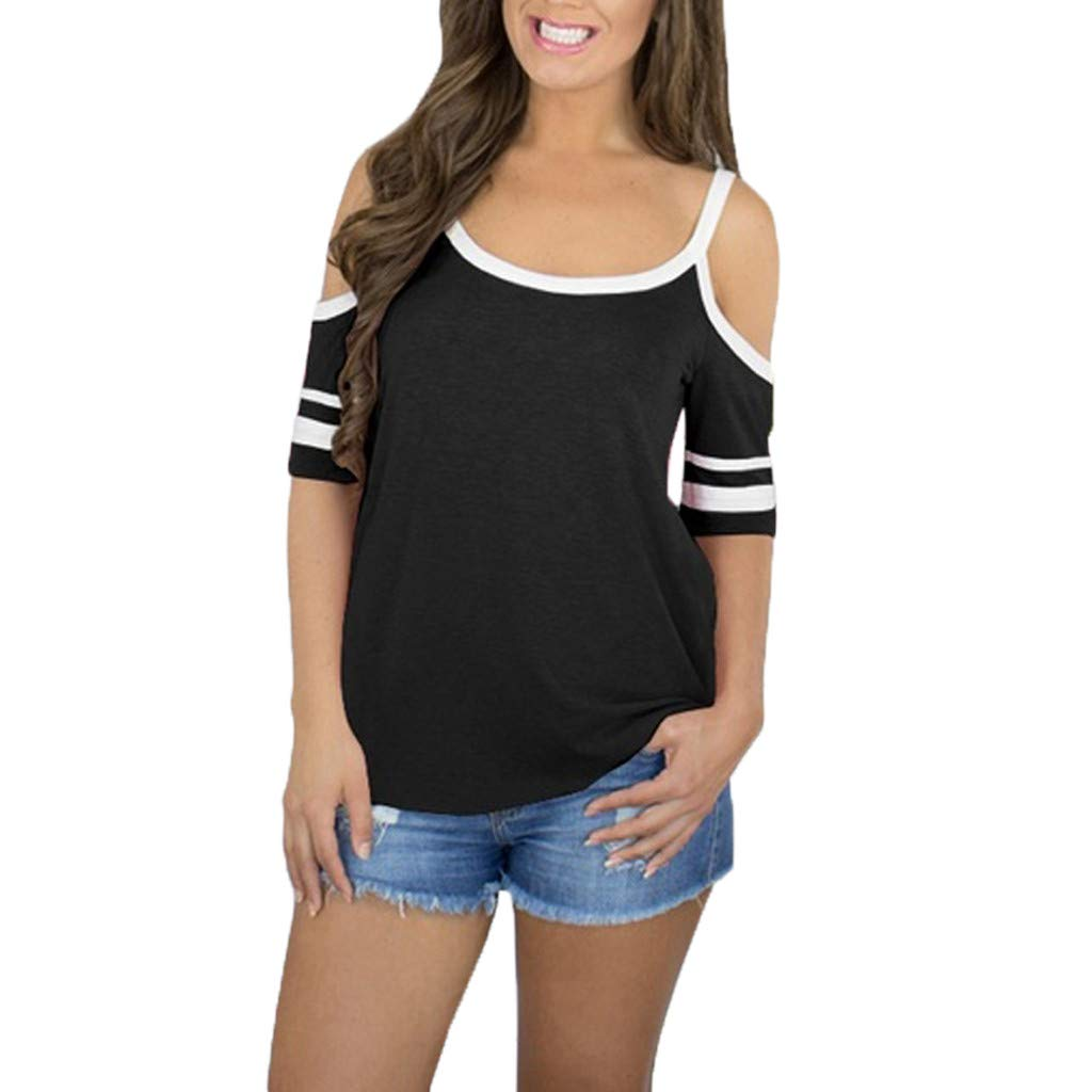 Fashion Tops for Women Off Shoulder Striped Short Sleeve Causal Round Neck T Shirt (L, Black)