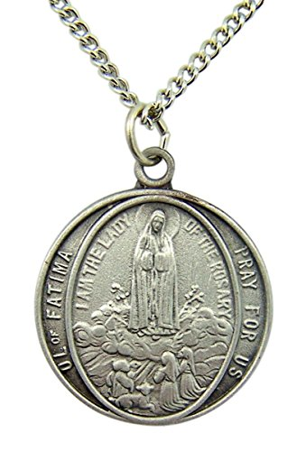 - Fine Pewter Our Lady of Fatima Round Medal Pendant Necklace, 1 Inch