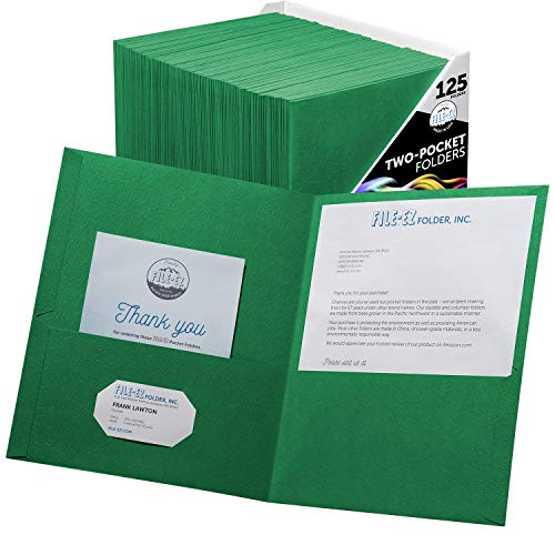 FILE-EZ Two-Pocket Folders, Green, 125-Pack, Textured Paper, Letter Size (EZ-32460)]()