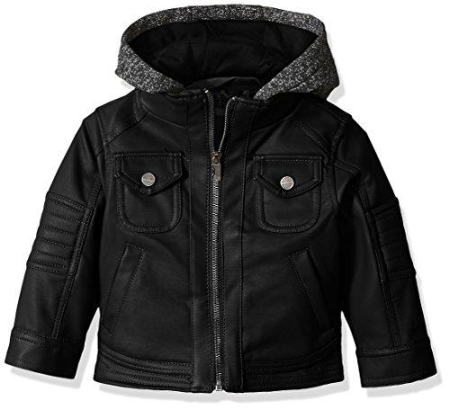 Urban Republic Baby Boys Texture Faux Leather Jacket Patch Pocket Sleeve, Black, 24M