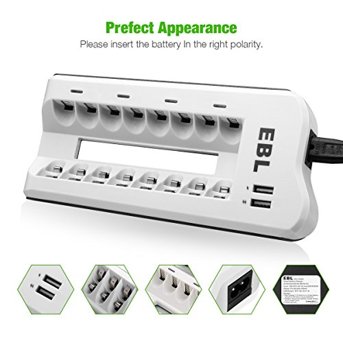 EBL Upgraded 8 Bays AA AAA Battery Charger with USB Ports and 8 Pack 2800mAh AA Batteries, Rechargeable Batteries and Charger Set