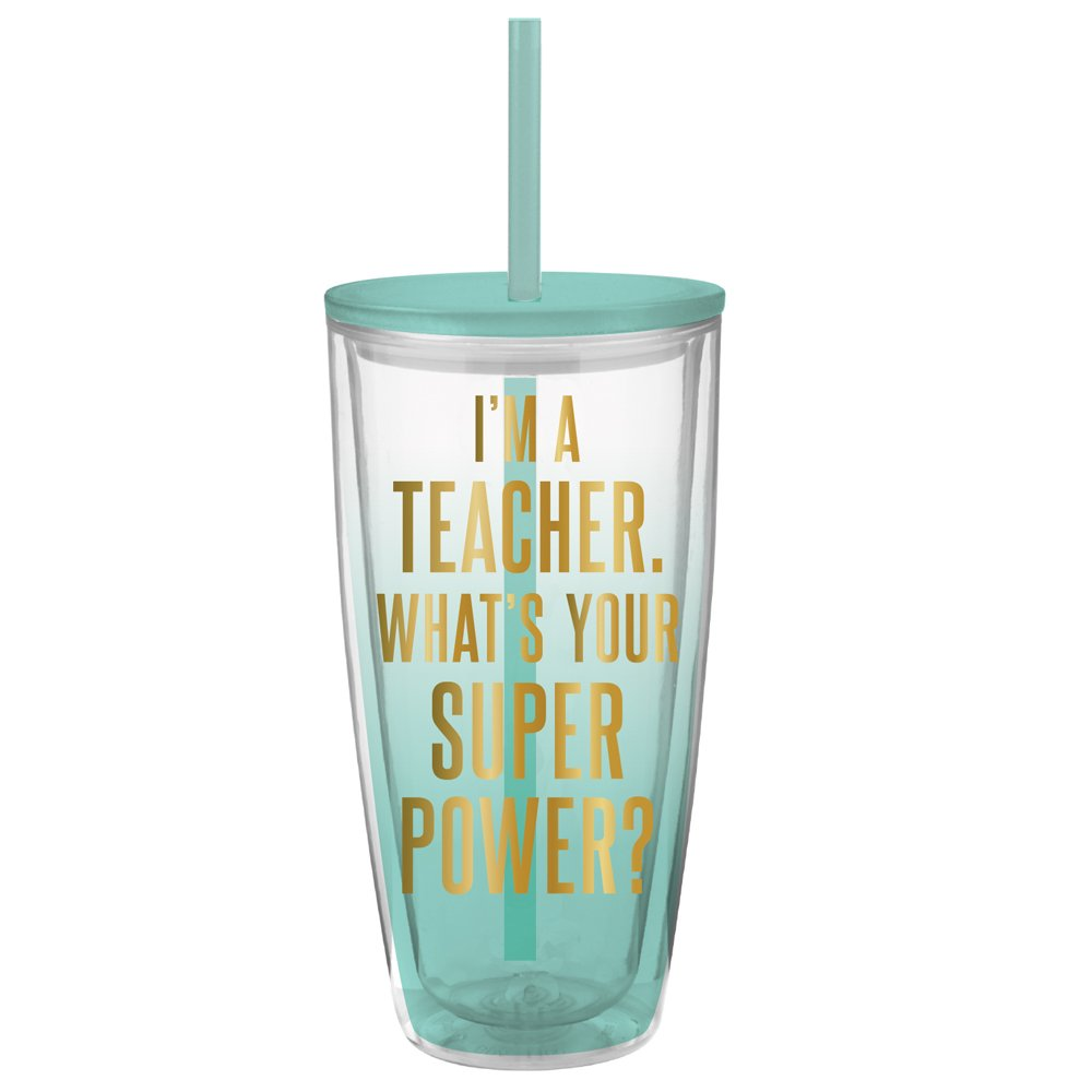 Teacher Tumbler - 22 oz Insulated Double Wall Tumbler with Lid and Straw - ''I'm a Teacher What's Your Superpower''