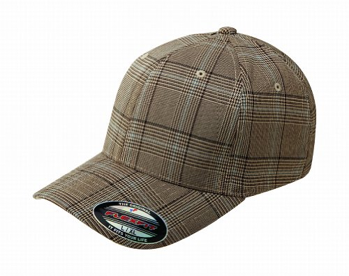 Flexfit Premium Original Glen Check Plaid Hat Baseball Blank Cap Fitted Flex Fit 6196 (Large/X-Large, Brown/Khaki) ()