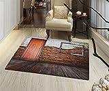 Antique Anti-Skid Area Rug Picture Frame on Damaged Brick Wall Aged Old Room Rustic Wooden Floor Floor Mat Pattern 24''x36'' Dark Orange Brown White