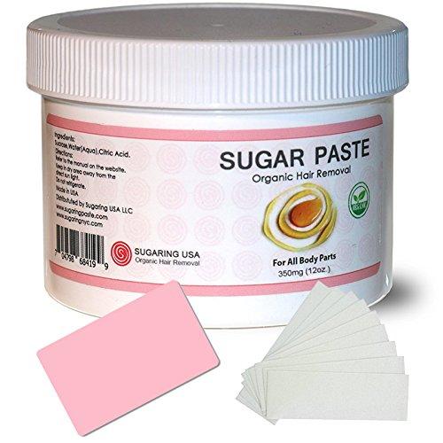 Sugaring Paste for Home Use on Bikini Brazilian Legs Waxing 12oz with 8pcs Sugaring Strips & Plastic Applicator