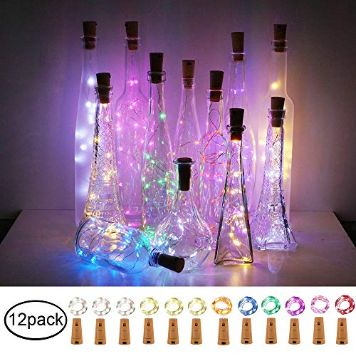 Decem Wine Bottle Lights with Cork 12 Pcs 15 LEDs Multicolor Cork Shape Silver Copper Wire Battery Powered LED Fairy String Lights for DIY/Decor/Party/Wedding/Christmas/Halloween -