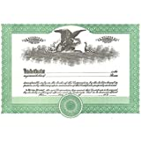 Short Form Green Stock Certificate - Pack of 100