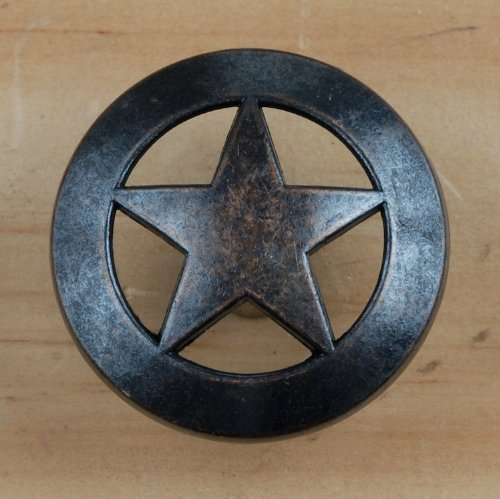 Star Lone Pull (Set of 24 Lone Star Drawer Pulls Cabinet Knobs Western Southwest Decor Texas (Oil Rubbed Brass))