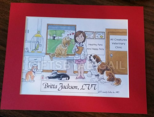 Vet Tech Gift Personalized Custom Cartoon Print 8x10, 9x12 Magnet or Keychain by giftsbyabigail