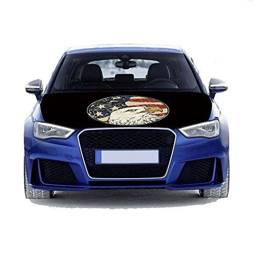MCCOCO American Eagle Flags Car Hood Cover 3.3X5FT-100X150CM Polyester fabric,Engine Flag,Elastic Fabrics Can be Washed,Car Bonnet Banner