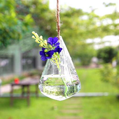 Wind Chimes Candle (Soledi Unique Hanging Vase Wind Chime Lovely Clear Water_Drop Crystal Glass Flower Plant Vase Terrarium Hydroponics Container Hanging Wedding Party Home Decor)