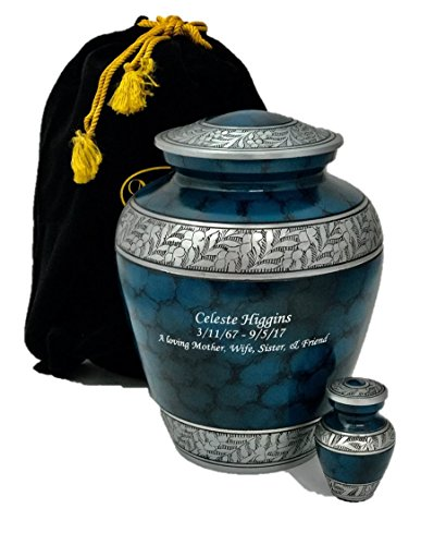 Custom Cremation Urn, Adult Human Memorial Urn with Personalization, Keepsake and Velvet (Adult Urn)