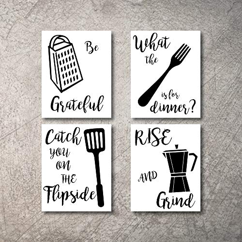 Kitchen Wall Decor Art Prints 4 UNFRAMED Rustic Wall Signs Home Coffee Decor Pictures Funny and Inspirational Farmhouse Style Wall Decorations Living Dining Room Cuadros pared de cocina (BW, 5x7)