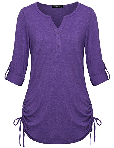 FANSIC Tunic Shirts for Women to Wear with Leggings, Ladies 3/4 Sleeve Pullover Blouses Notch Neck Tops Purple XX-Large