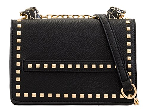 Women's Cross Bags Studded Shoulder Bag Handbags Messenger Black Body LeahWard 2160 5dnp5