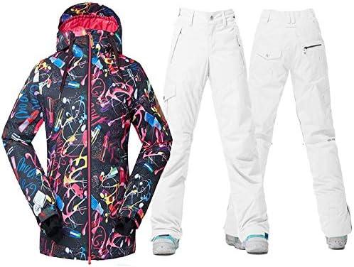 Zjsjacket Traje de Esqui Mujeres Ropa de Nieve Conjuntos de Snowboard Deportes al Aire Libre Traje de esquí Conjunto Impermeable Gsou Chaqueta y pantalón de ...