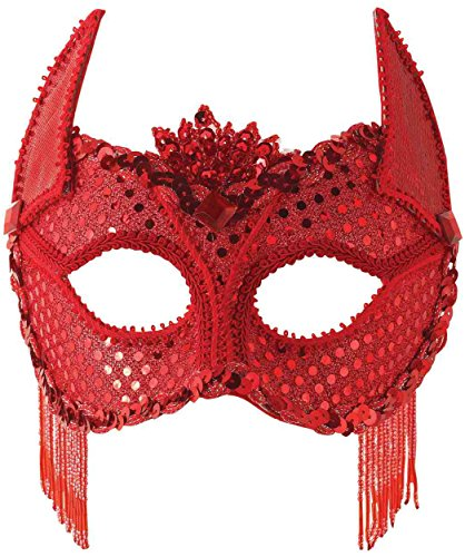 Red Sequin Devil Costume Eye Mask With Horns Select Size: One Size