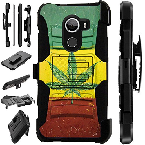 [World Acc] For T-Mobile REVVL Case / Alcatel Walters / Alcatel A30 Fierce 2017 (MetroPCS) Case Armor Hybrid Case Silicone Cover Kick Stand LuxGuard Holster (Flag of Weed Nation)