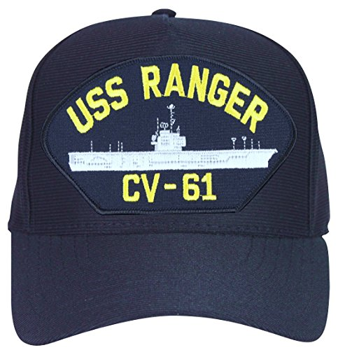 - USS Ranger CV-61 Ships Ball Cap with Custom Back Text Navy