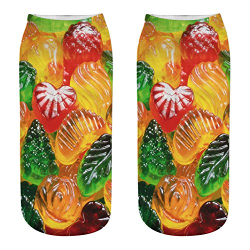 UMFun Socks,Simulation 3D Candy Printing Socks Unisex Casual Medium Socks Women Man Warm Sports Socks (K) ()