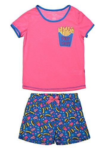 Girls Short Sleeve Ringer - Girls Sleepwear Short Sleeve Ringer Tee & Short Bottom Pajama Set (S (6/6X), Pop Pink/Blue)