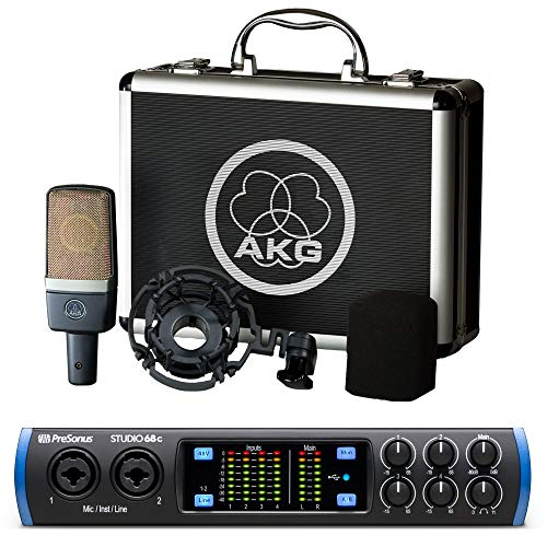 AKG C214 Large Diaphragm Condenser Microphone Bundle with High Def. Audio Interface
