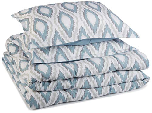 AmazonBasics Comforter Set - Soft, Easy-Wash Microfiber - Full/Queen, Blue Sierra